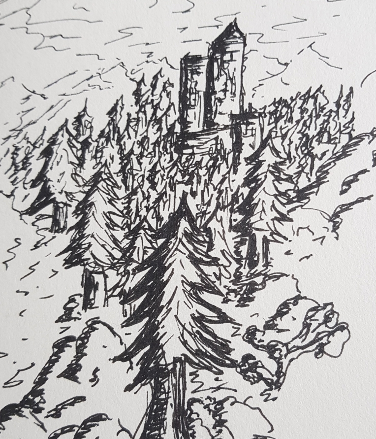 A quick doodle of a castle in a forest.